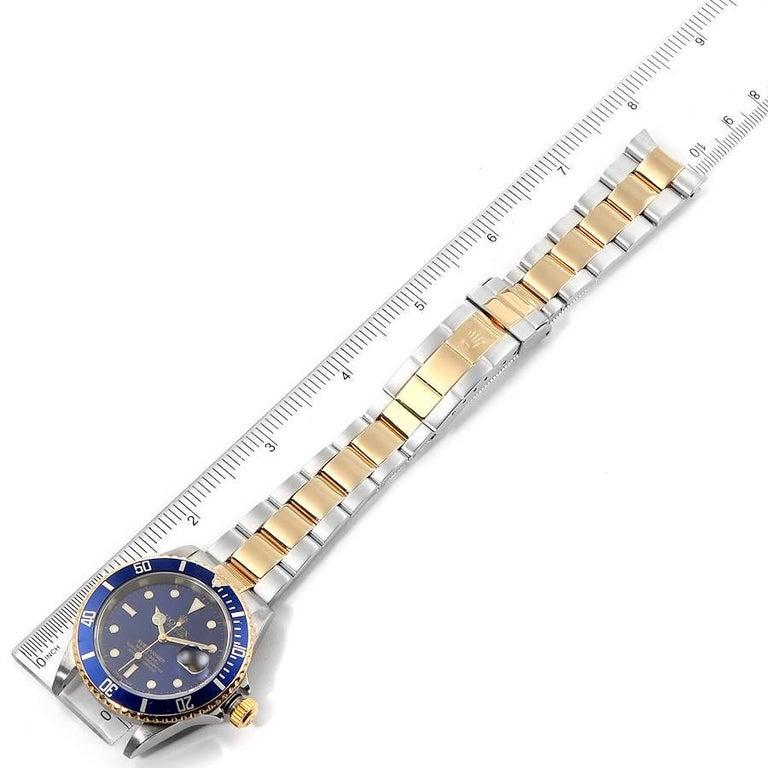 Rolex Submariner Blue Dial Steel Yellow Gold Men's Watch 16613 7