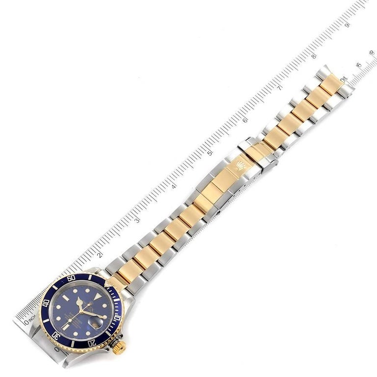 Rolex Submariner Blue Dial Steel Yellow Gold Mens Watch 16613 For Sale 6