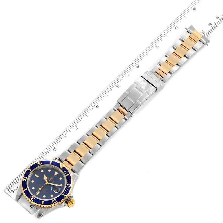 Rolex Submariner Blue Dial Steel Yellow Gold Mens Watch 16613 6
