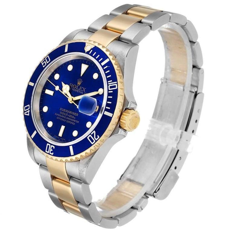Rolex Submariner Blue Dial Steel Yellow Gold Men's Watch 16613 1