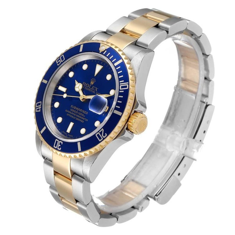 Men's Rolex Submariner Blue Dial Steel Yellow Gold Mens Watch 16613 For Sale