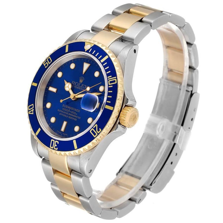 Men's Rolex Submariner Blue Dial Steel Yellow Gold Mens Watch 16613