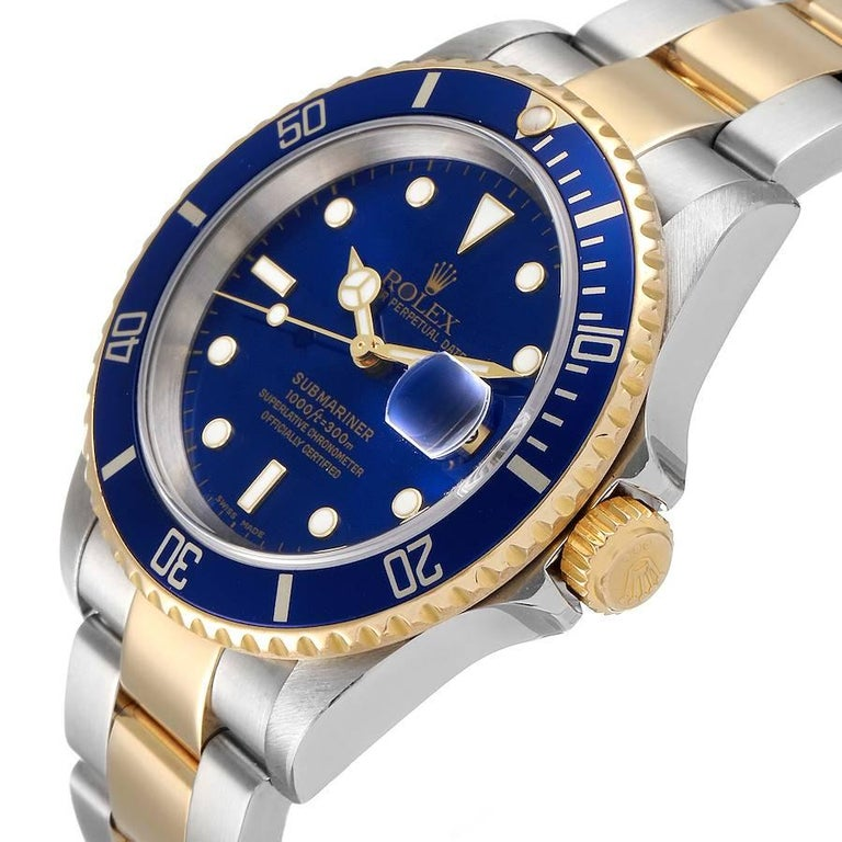 Rolex Submariner Blue Dial Steel Yellow Gold Mens Watch 16613 For Sale 1