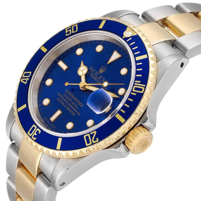 Rolex Submariner Blue Dial Steel Yellow Gold Mens Watch 16613 1