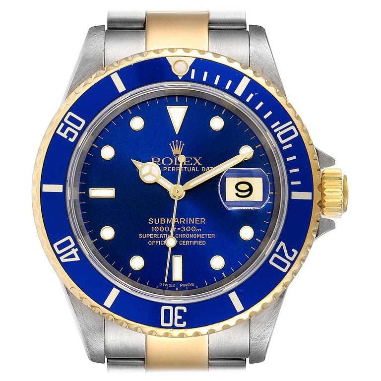Rolex Submariner Blue Dial Steel Yellow Gold Men's Watch 16613