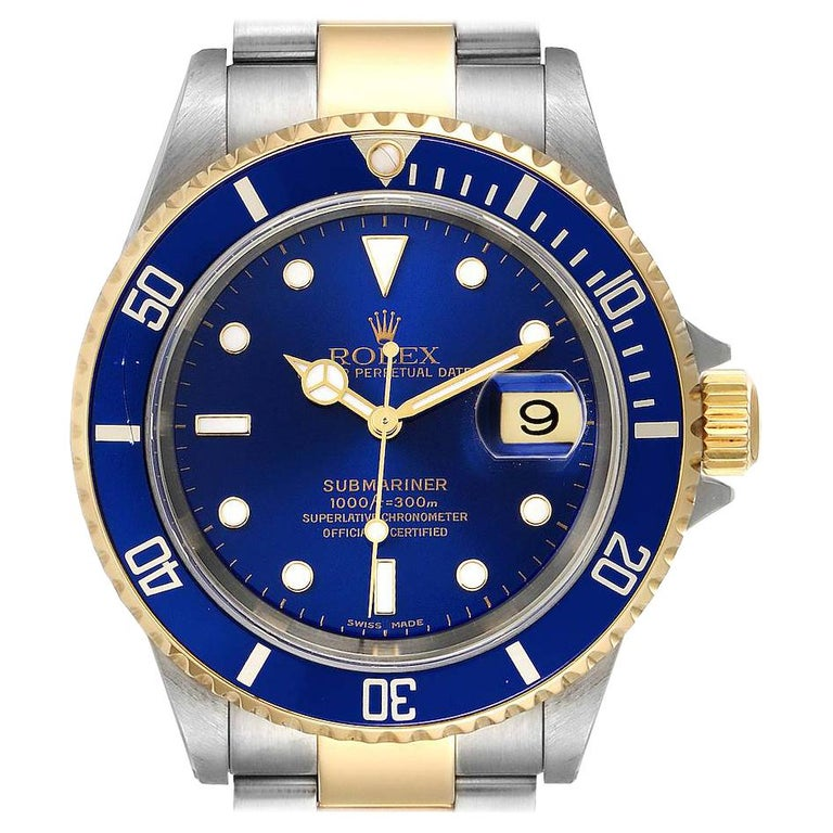 Rolex Submariner Blue Dial Steel Yellow Gold Mens Watch 16613 For Sale