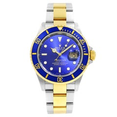 Rolex Submariner Blue on Blue 18 Karat Gold Steel Automatic Men's Watch 16613