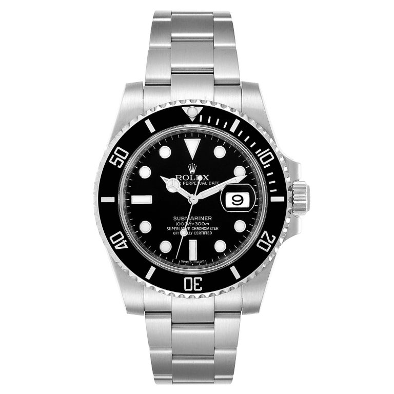 Rolex Submariner Ceramic Bezel Black Dial Steel Mens Watch 116610. Officially certified chronometer self-winding movement. Stainless steel case 40.0 mm in diameter. Rolex logo on a crown. Black Cerachrom bezel. Scratch resistant sapphire crystal