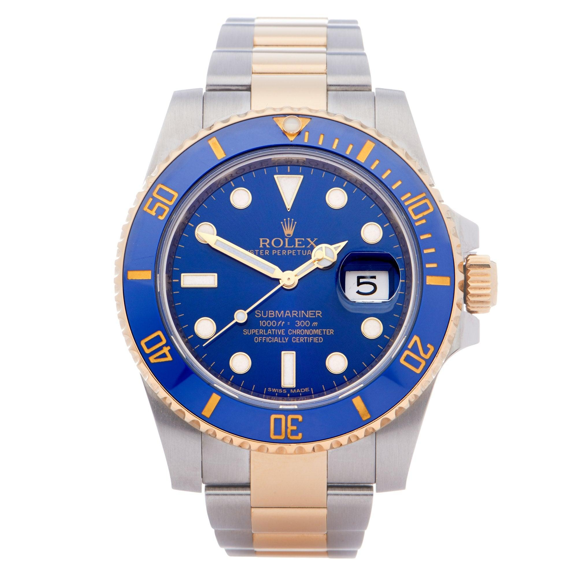 Rolex Submariner Date 116613 Men Yellow Gold & Stainless Steel 18K Watch