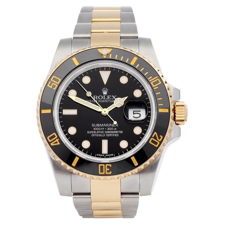 Rolex Submariner Date 116613 Men's Yellow Gold & Stainless Steel 0 Watch For Sale