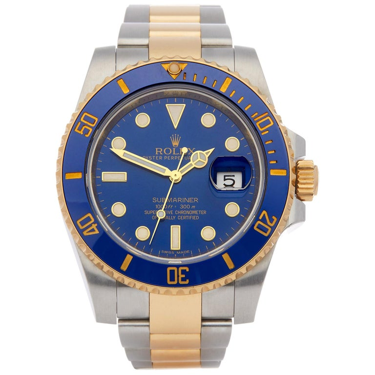 Rolex Submariner Date 116613LB Men's Stainless Steel and Yellow Gold Watch For Sale