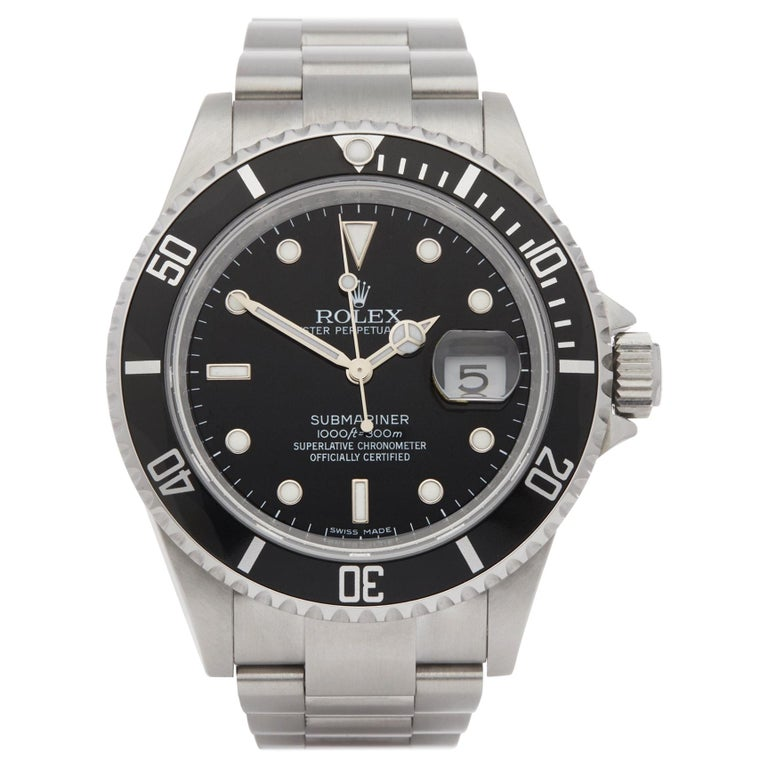Rolex Submariner Date 16610 Men's Stainless Steel Watch For Sale