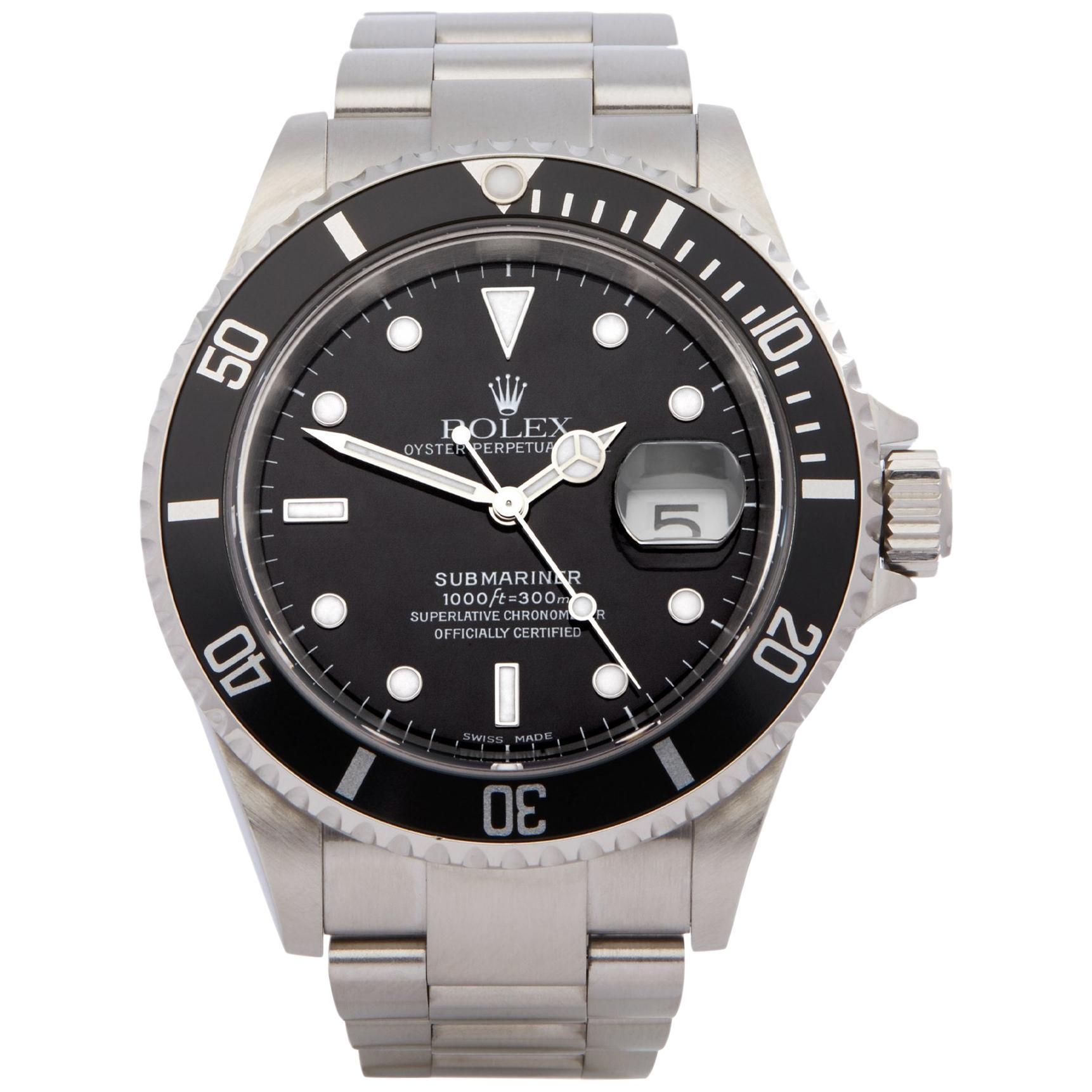 Rolex Submariner Date 16610 Men's Stainless Steel Watch