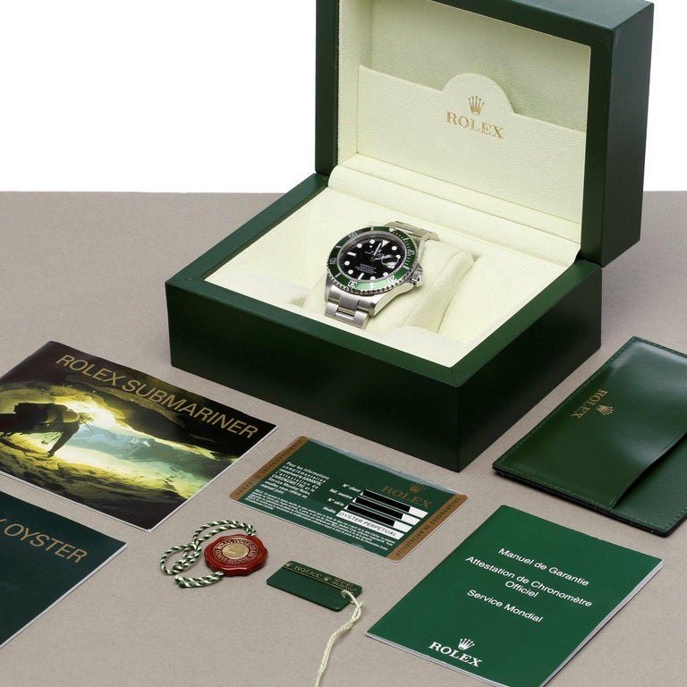 Rolex Submariner Date 16610LV Men's Stainless Steel Kermit' Watch For Sale 7