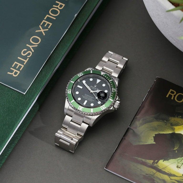 Rolex Submariner Date 16610LV Men's Stainless Steel Kermit' Watch For Sale 8