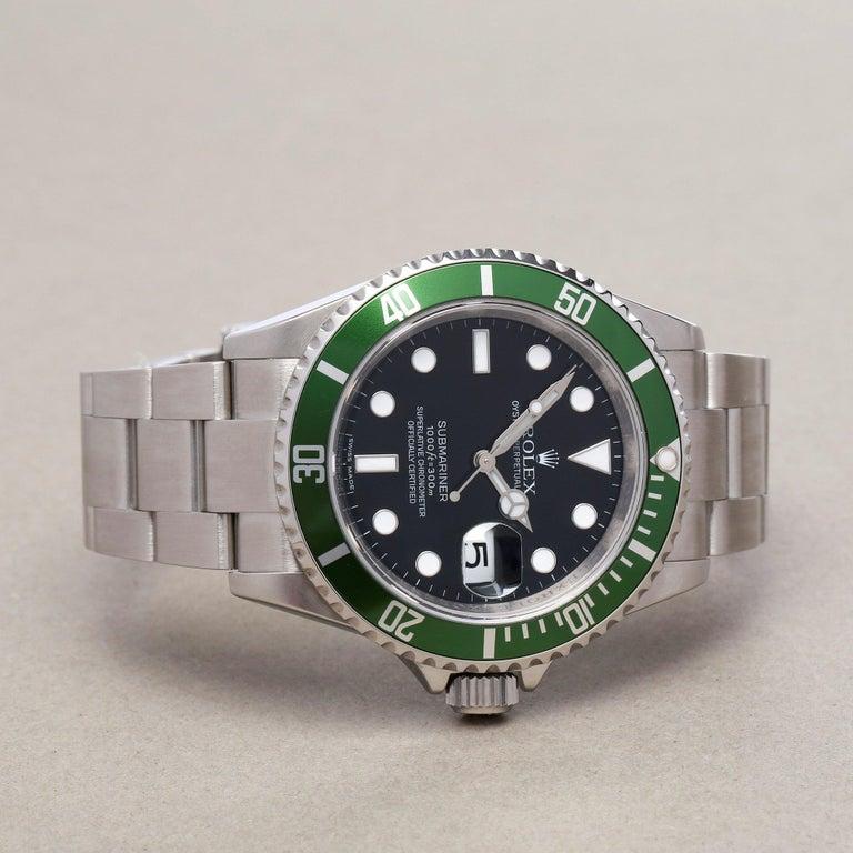 Rolex Submariner Date 16610LV Men's Stainless Steel Kermit' Watch In Excellent Condition For Sale In Bishops Stortford, Hertfordshire