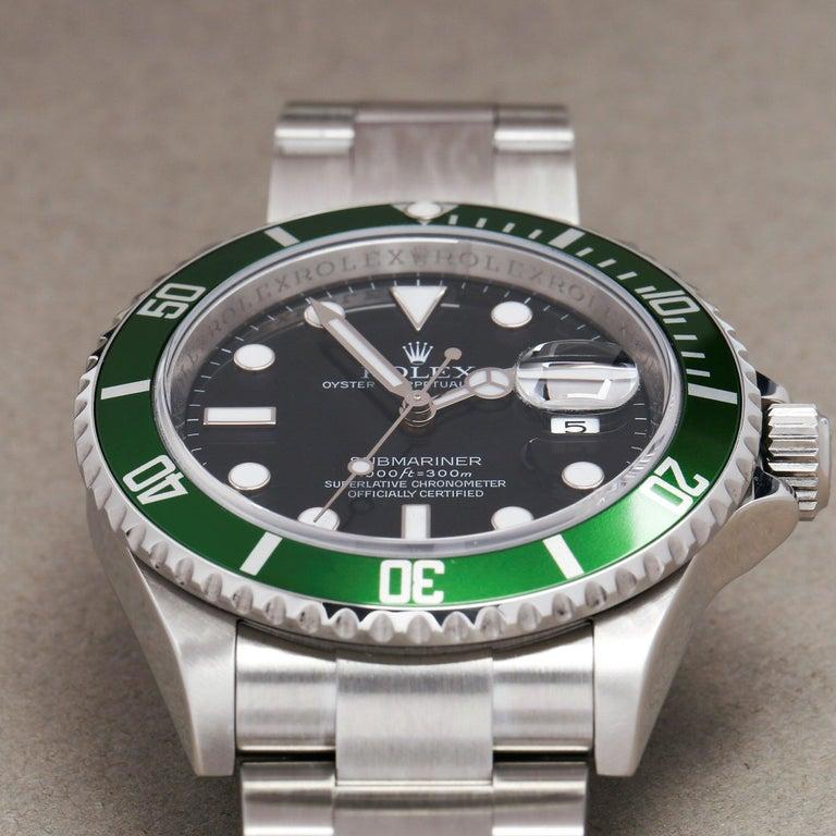 Rolex Submariner Date 16610LV Men's Stainless Steel Kermit' Watch For Sale 3