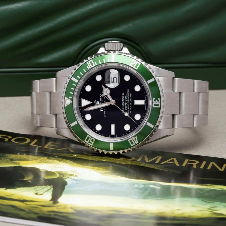 Rolex Submariner Date 16610LV Men's Stainless Steel Kermit' Watch For Sale 6