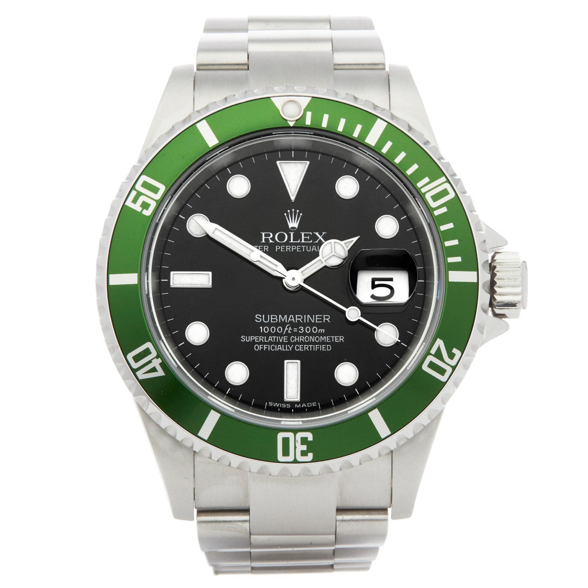 Rolex Submariner Date 16610LV Men's Stainless Steel Kermit Watch