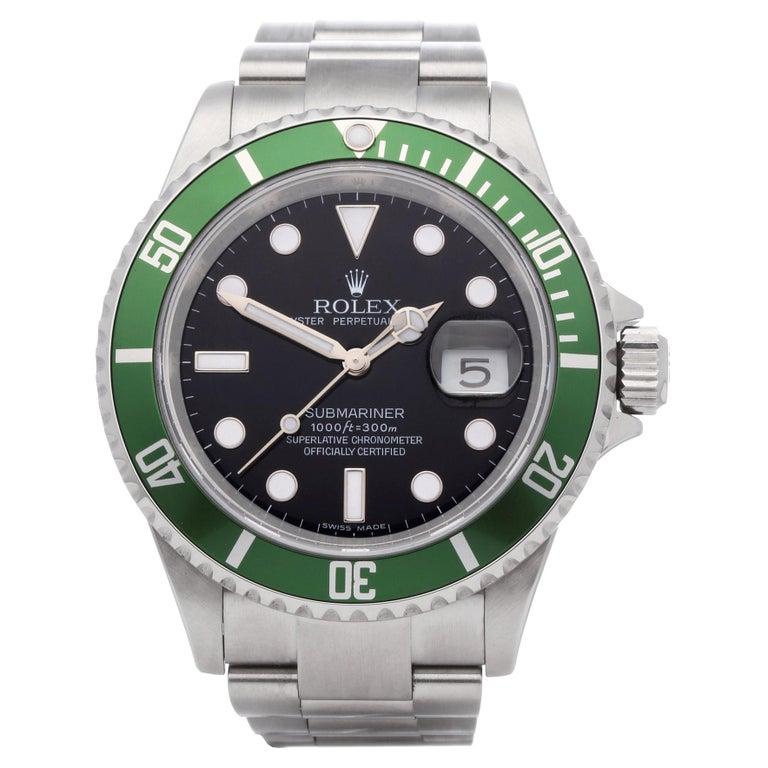 Rolex Submariner Date 16610LV Men's Stainless Steel Kermit' Watch For Sale