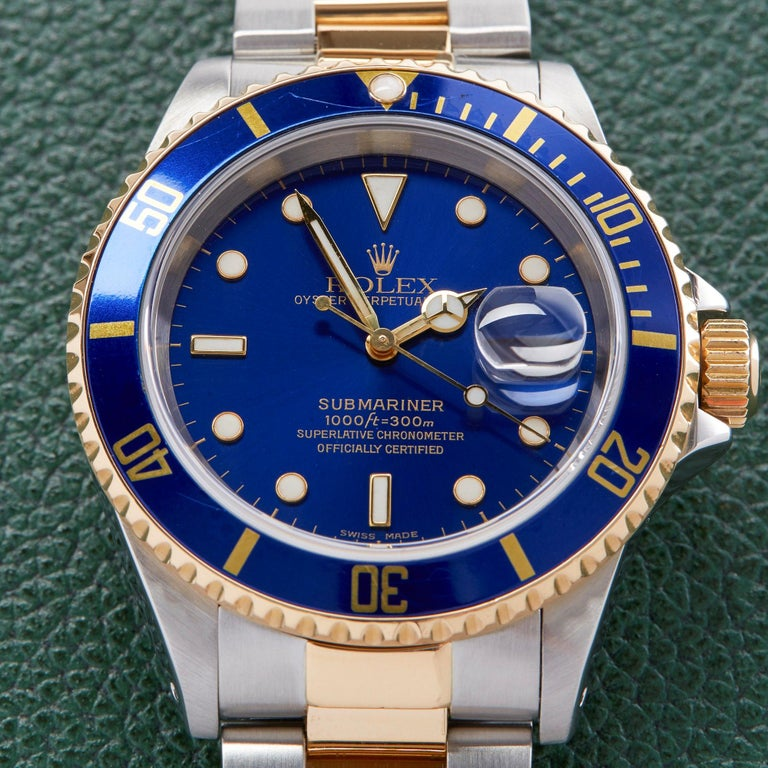 Rolex Submariner Date 16613 Men's Stainless Steel and Yellow Gold Watch For Sale 1
