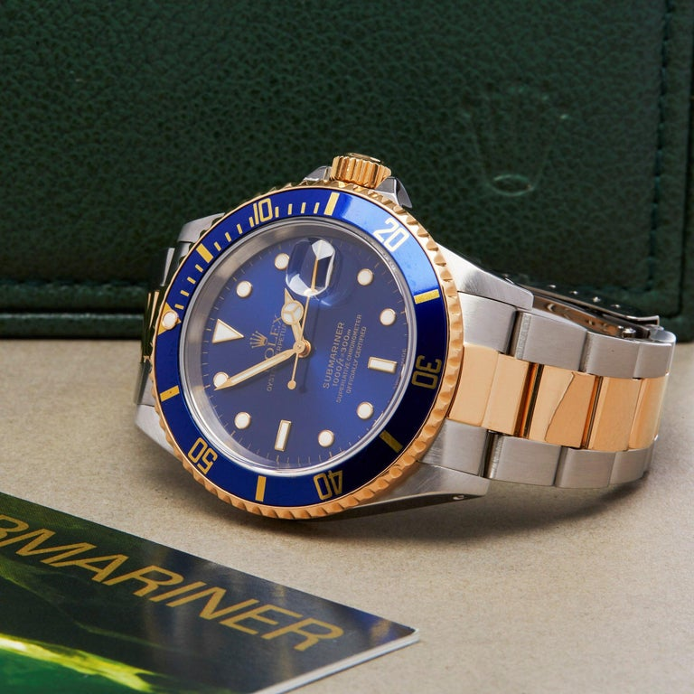 Rolex Submariner Date 16613 Men's Stainless Steel and Yellow Gold Watch For Sale 6