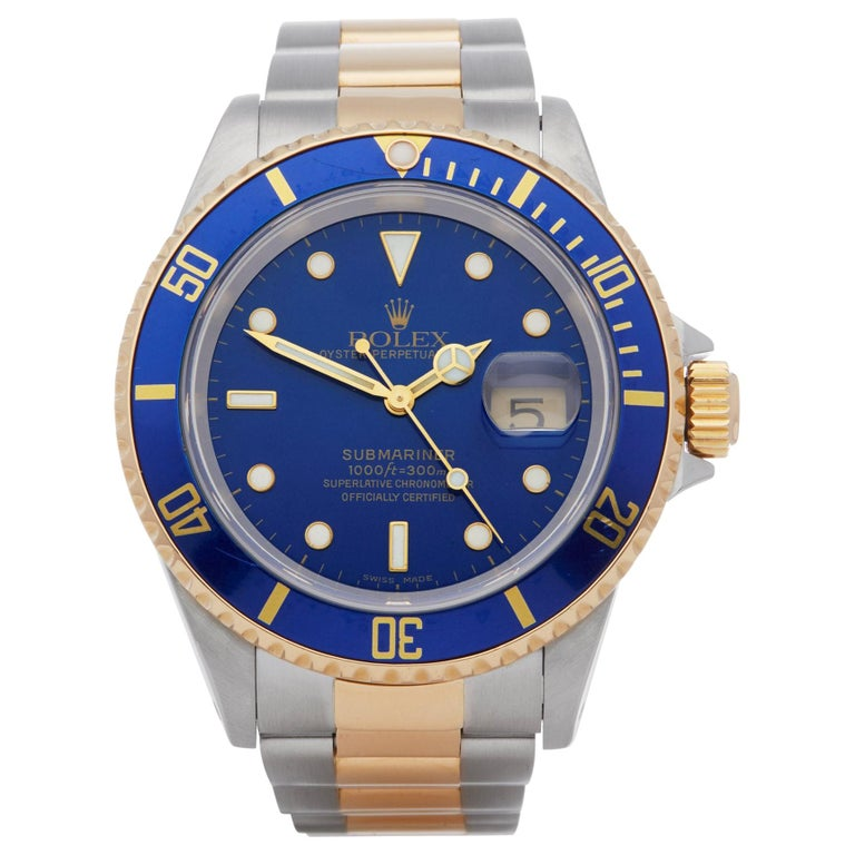 Rolex Submariner Date 16613 Men's Stainless Steel and Yellow Gold Watch For Sale