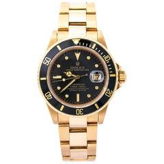 Rolex Submariner Date 16808 Men's Watch Black Nipple Dial Vintage 18K Y Gold