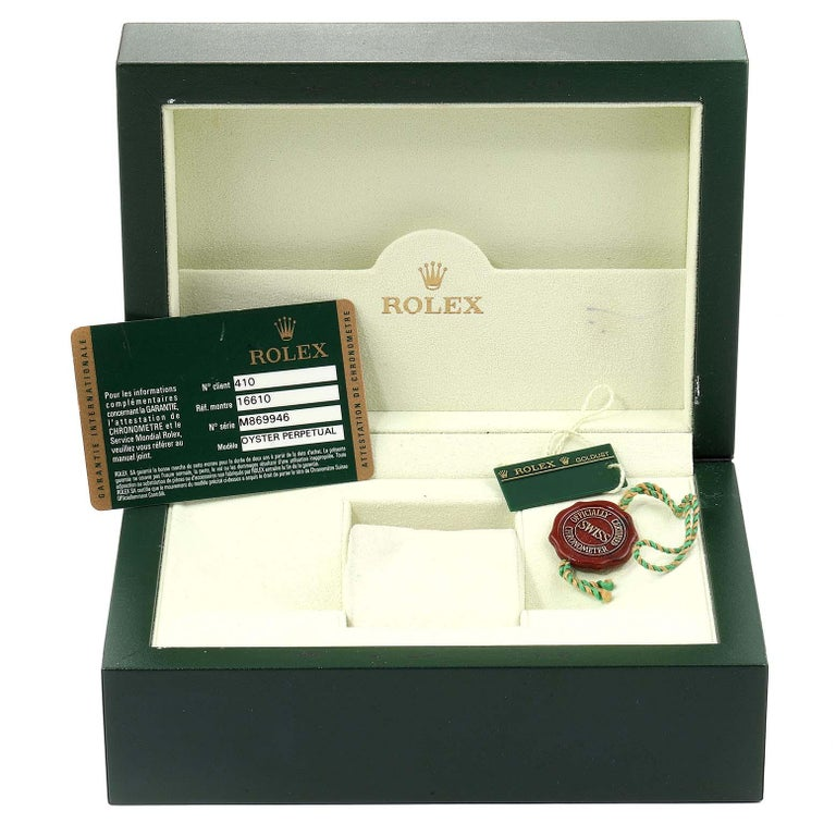 Rolex Submariner Date Stainless Steel Men's Watch 16610 Box Card 8