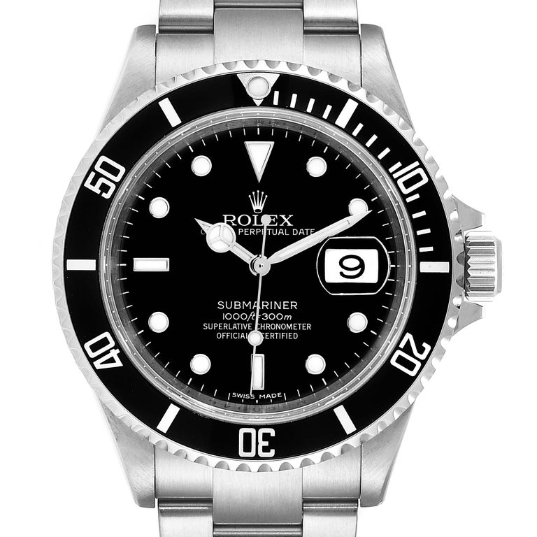 Rolex Submariner Date 40mm Stainless Steel Mens Watch 16610 Box Card. Officially certified chronometer self-winding movement. Stainless steel case 40.0 mm in diameter. Rolex logo on a crown. Special time-lapse unidirectional rotating bezel. Scratch