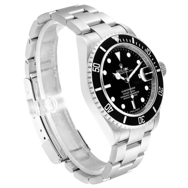 Rolex Submariner Date Stainless Steel Men's Watch 16610 Box Card In Excellent Condition In Atlanta, GA
