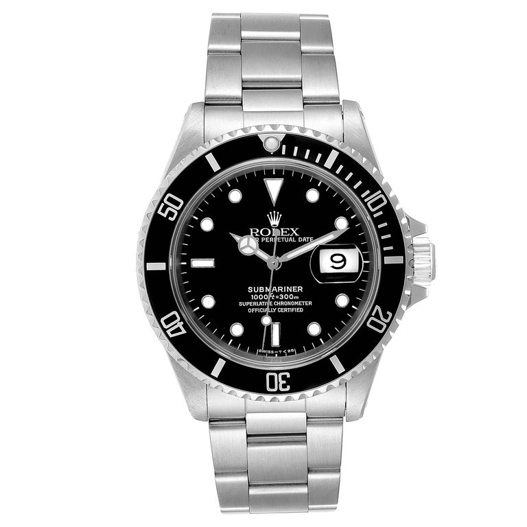Rolex Submariner Date 40mm Stainless Steel Mens Watch 16610 Box Papers. Officially certified chronometer self-winding movement. Stainless steel case 40.0 mm in diameter. Rolex logo on a crown. Special time-lapse unidirectional rotating bezel.