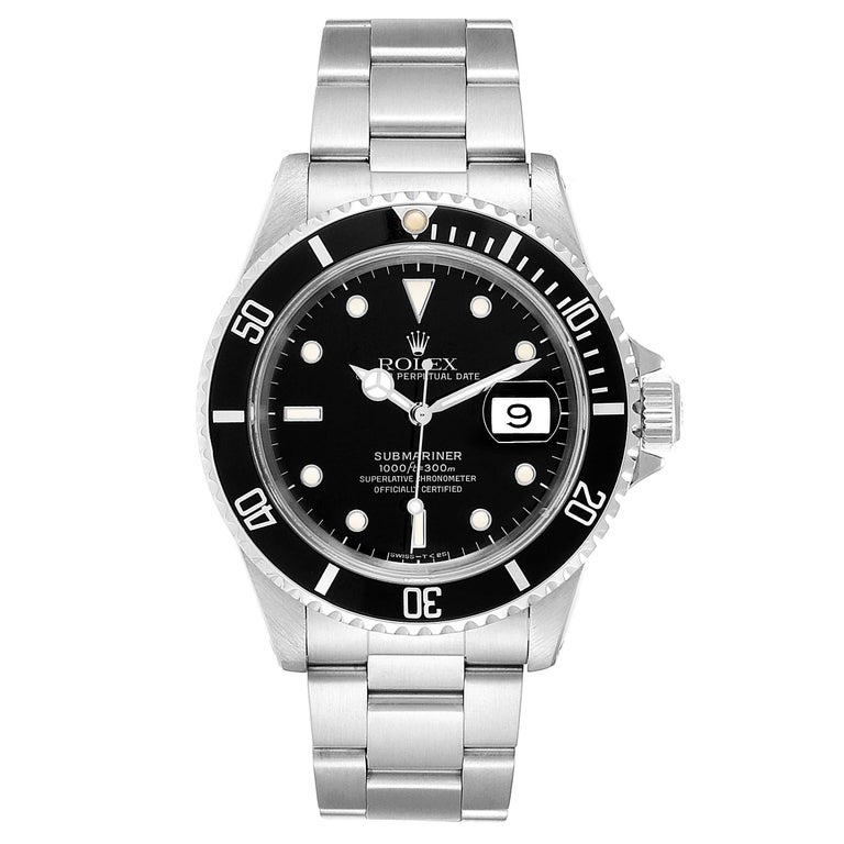Rolex Submariner Date 40mm Stainless Steel Mens Watch 16610. Officially certified chronometer self-winding movement. Stainless steel case 40.0 mm in diameter. Rolex logo on a crown. Special time-lapse unidirectional rotating bezel. Scratch resistant