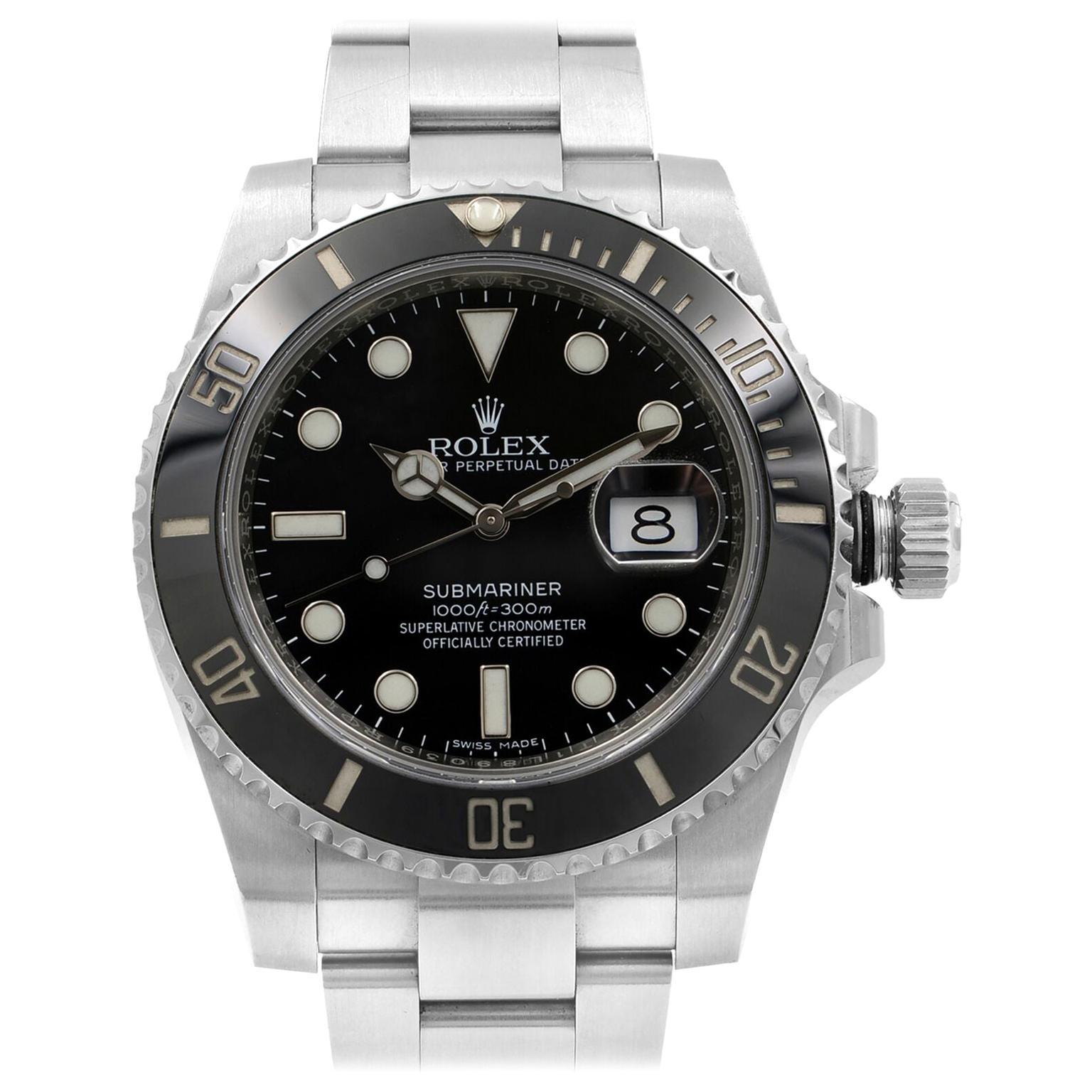 Rolex Submariner Date Black Dial Cerachrom Bezel Steel Men's Watch 116610LN