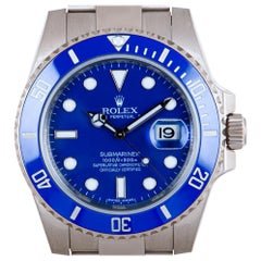 Rolex Submariner Date Gents 18 Karat Gold Blue Dial Ceramic Bezel B&P 116619LB