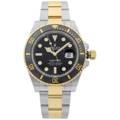 Rolex Submariner Date Gold Steel Black Dial Men's Watch 126613LN