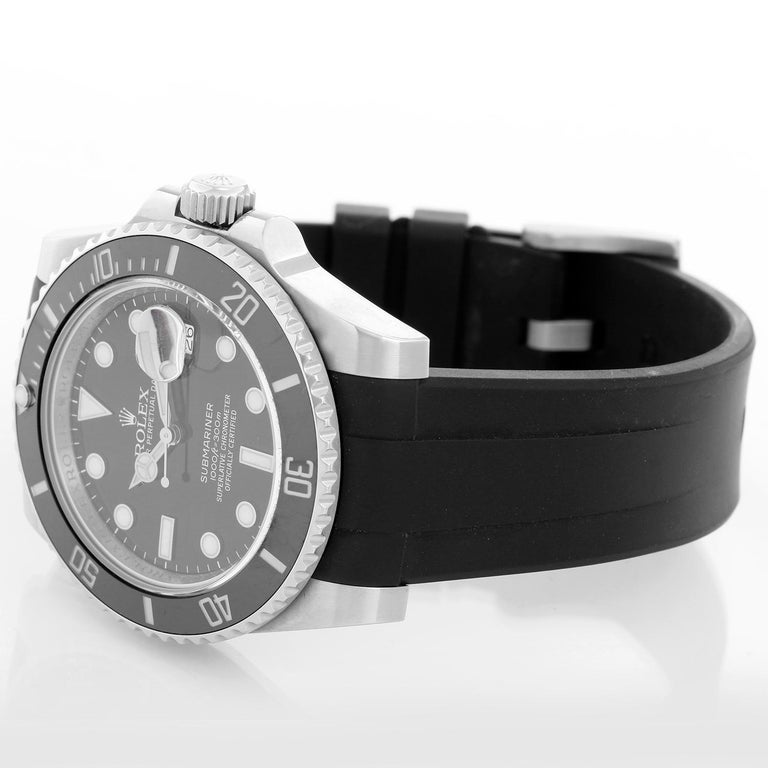 Rolex Submariner Date Men's Stainless Steel Watch 116610 LN - Automatic winding, 31 jewels, pressure proof to 1,000 feet. Stainless steel case with time-lapse Cerachrom bezel . Black dial with luminous markers; date at 3 o'clock. Black Rubber Strap