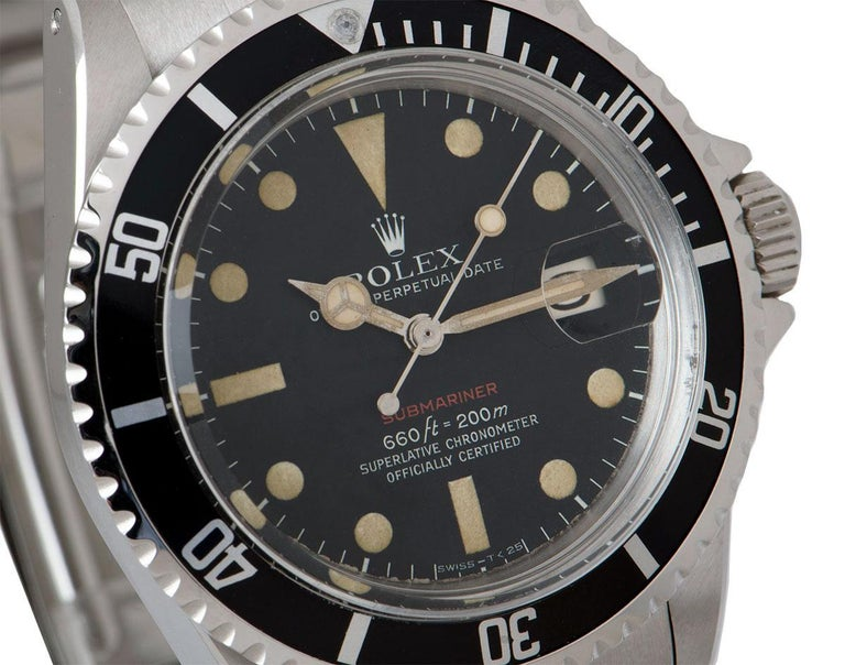 Rolex Submariner Date Red Writing Vintage Stainless Steel Mark V 1680 In Excellent Condition In London, GB