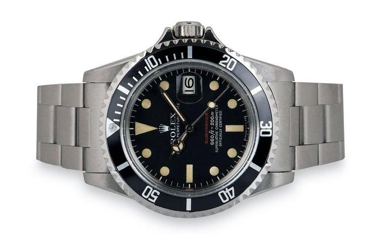 Men's Rolex Submariner Date Red Writing Vintage Stainless Steel Mark V 1680