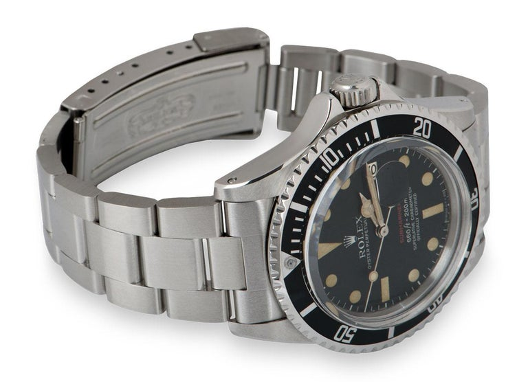 Rolex Submariner Date Red Writing Vintage Stainless Steel Mark V 1680 1