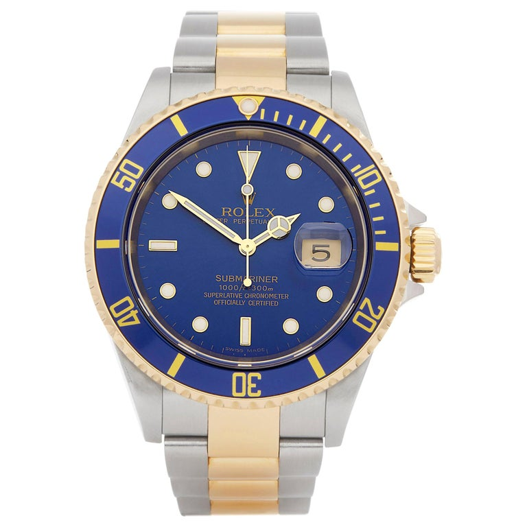 Rolex Submariner Date Stainless Steel and Yellow Gold 16613 For Sale