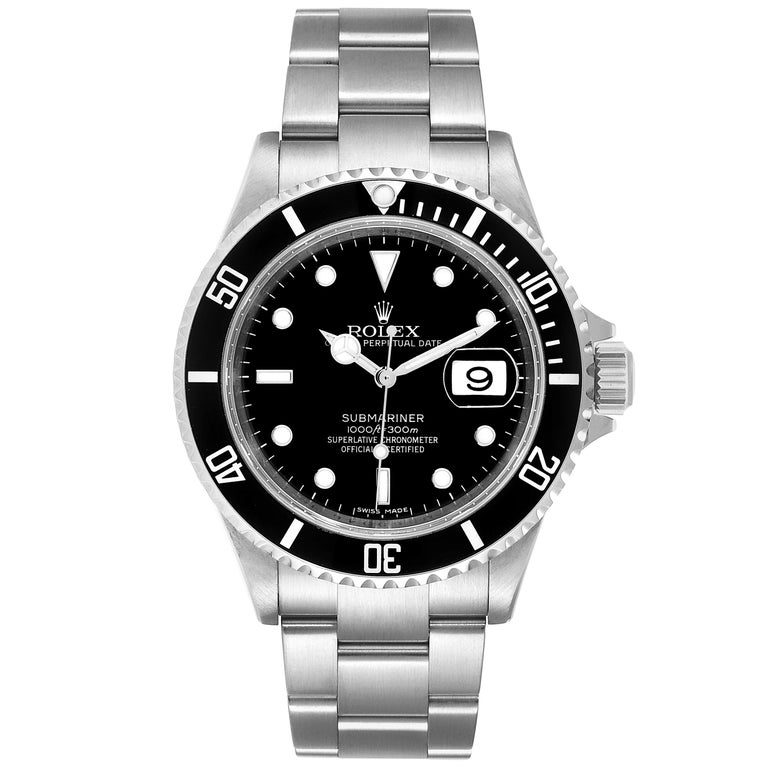 Rolex Submariner Date Stainless Steel Men's Watch 16610 Box Card