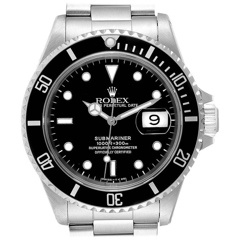 Rolex Submariner Date Stainless Steel Men's Watch 16610 Box Papers For Sale
