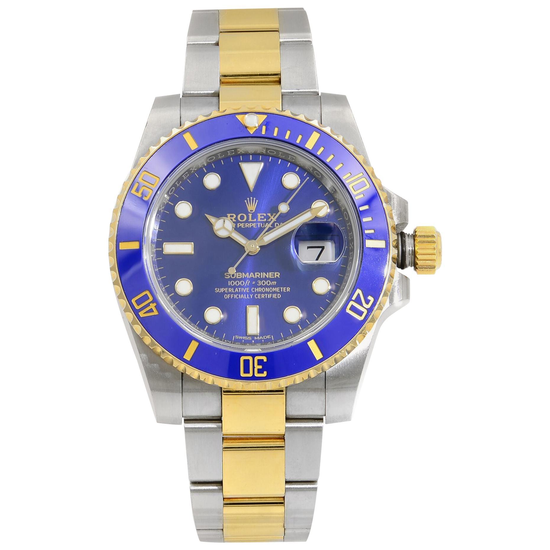 Rolex Submariner Date Steel 18 Karat Yellow Gold Blue Dial Men's Watch 116613LB