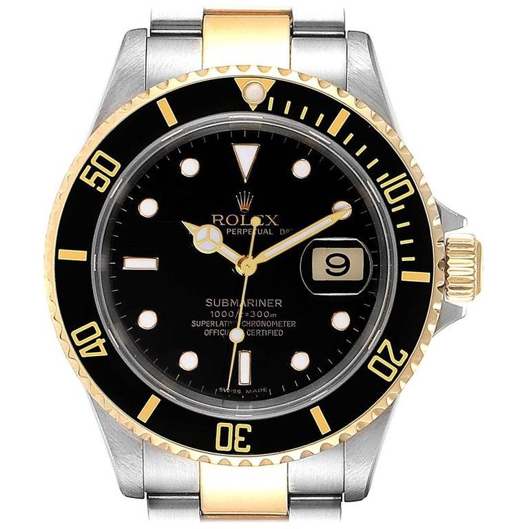 Rolex Submariner Date Steel 18 Karat Yellow Gold Men's Watch 16613 For Sale