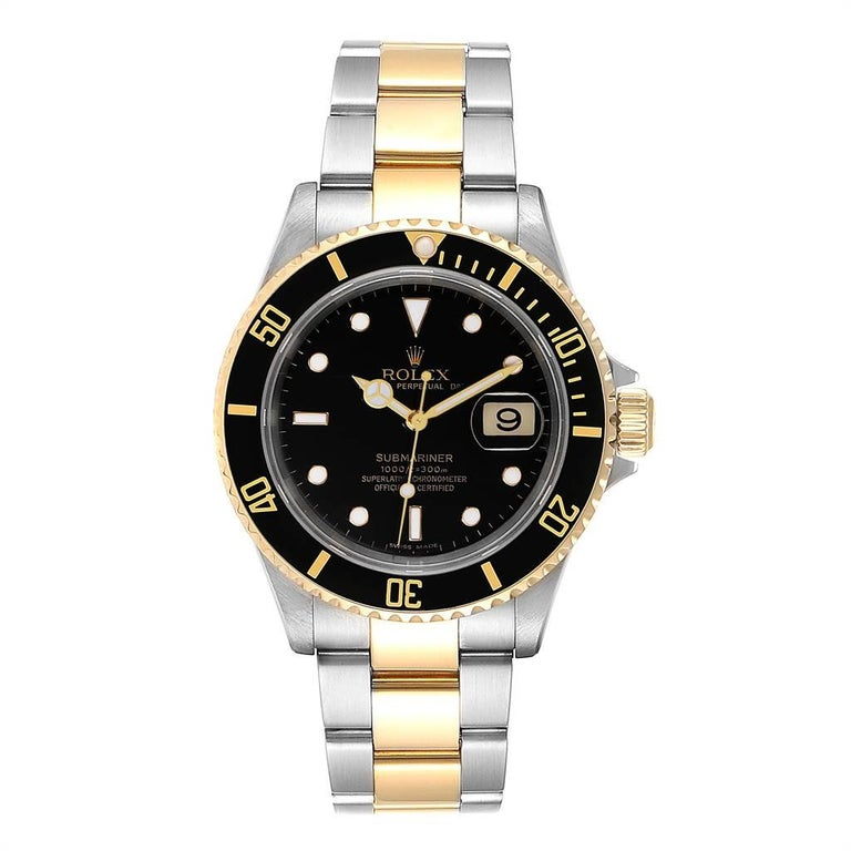 Rolex Submariner Date Steel 18K Yellow Gold Mens Watch 16613. Officially certified chronometer self-winding movement. Stainless steel and 18k yellow gold case 40 mm in diameter. Rolex logo on a crown. Black insert special time-lapse unidirectional