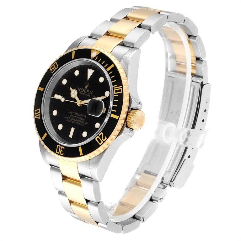 Men's Rolex Submariner Date Steel 18 Karat Yellow Gold Men's Watch 16613 For Sale