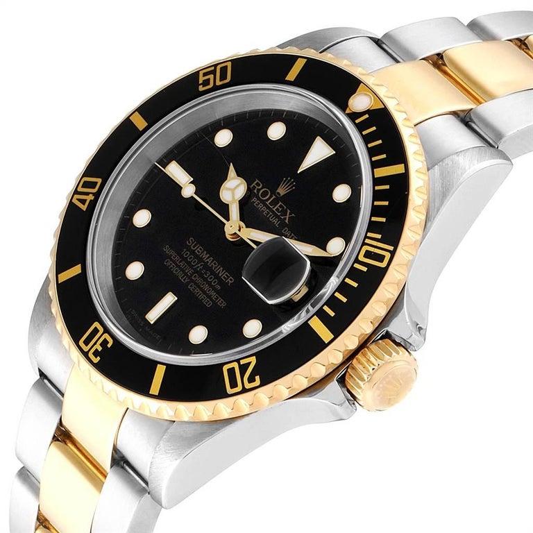 Rolex Submariner Date Steel 18 Karat Yellow Gold Men's Watch 16613 For Sale 1