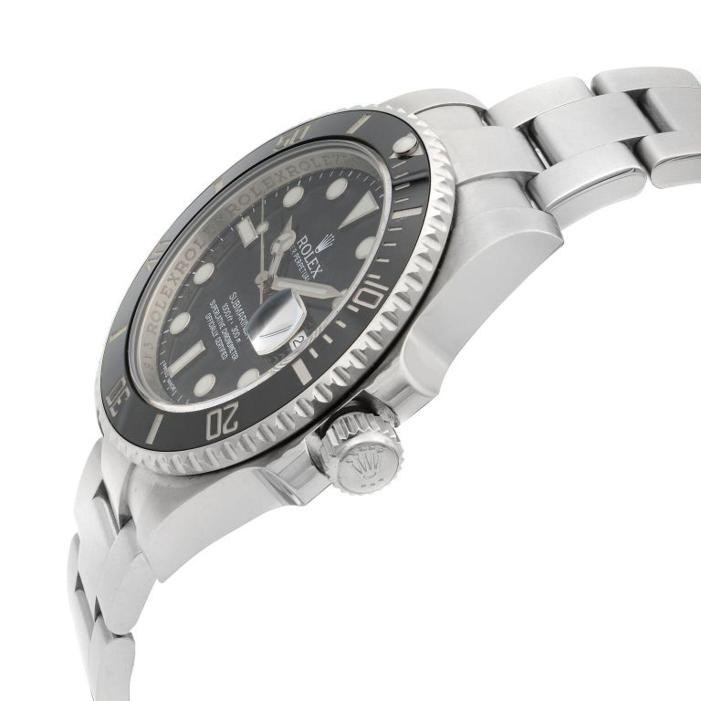 Rolex Submariner Date Steel Ceramic Bezel Black Dial Automatic Mens Watch 116610 In Excellent Condition For Sale In New York, NY
