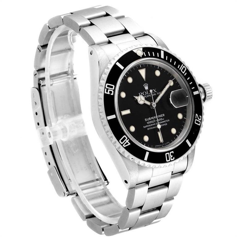 Rolex Submariner Date Steel Men's Vintage Watch 16800 Box In Good Condition In Atlanta, GA